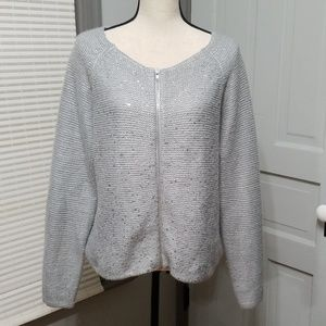 Mossimo Silver Knitted Zip-Up Blazer